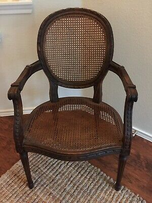 One French Louis XV Style Cane Back Arm Chair