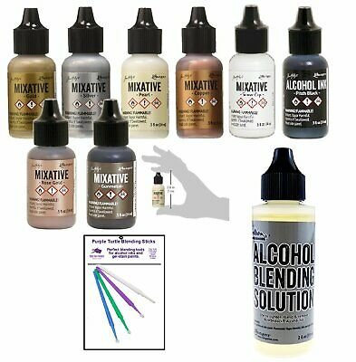 Ranger Tim Holtz Alcohol Ink Mixatives Bundle - All 8 Colors, Pearl, Copper,