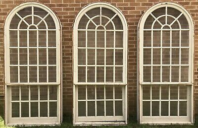 Large 7 Foot Tall Antique Wood 34 Pane White Architectural Arched Window (#2)