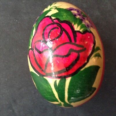 Vintage Russian Wooden Folk Art Hand Painted Egg Pink Floral, Easter,Collection