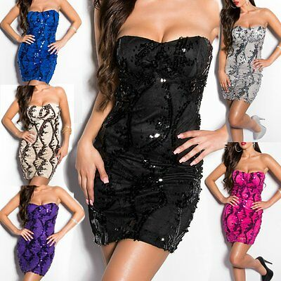 ♥ Sexy Miss Donna Fascia Mini Abito Paillettes Pizzo Cocktail Dress 34/36/38