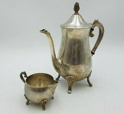 Vintage Silverplate Teapot Water Coffee Pitcher Creamer Sugar Bowl Ornate Floral
