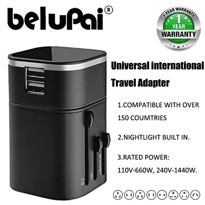 Belupai® Travel adapter universal international wall charger with dual usb ports