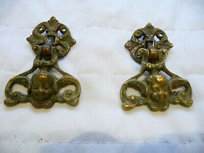 Antique Pair 19th Century French Brass Cherub Drop Draw Handles Pulls Chest Old