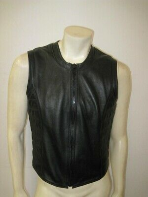 MR. S LEATHER San Francisco Black Leather Padded Zipper Vest Size LARGE