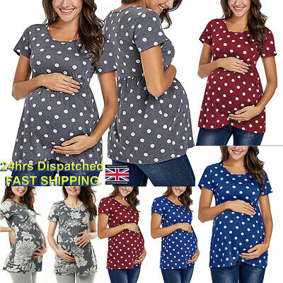 UK Maternity Short Sleeve O Neck Top Tunic Pregnancy Clothes Size 10 12 14 16 18