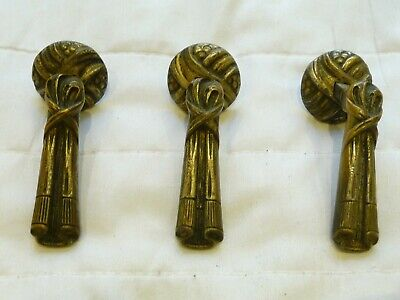 Antique X3 19th Century French Nickel Plated Brass Drop Draw Handles Pulls Chest