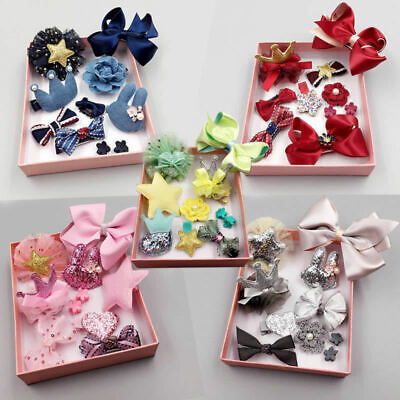 10Pcs/Set Baby Girls Boutique Head Clips Hair Bows Crown Princess Bobbles Gift