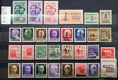 Italy Regno Gnr Rsi Luogotenenza - 30 Stamps New Mh*