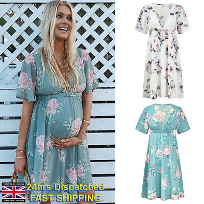 Womens Maternity Dress Casual Summer Chiffon Floral Daily Party Beach Dresses UK