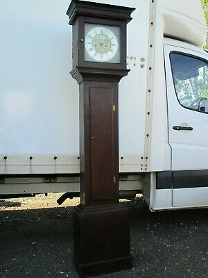 Evesham  James Head 8 Day Brass Faced Slim Oak Longcase Clock