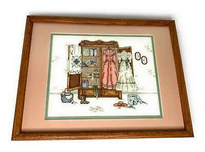 Paula Vaughan Cameo of the Past Completed Cross Stitch Framed Matted 17x13