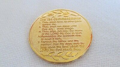 "Beautiful  Gold Tone Coin With ""Ten Commandments""  Religious #Rel"