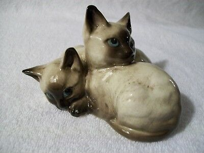 Porcelain Ceramic  Figurine Sculpture beswick cat Siamese Kittens vintage 1296#