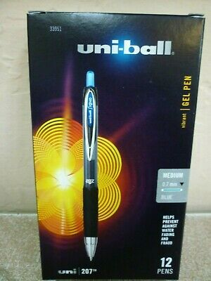 Uni-Ball 207 Retractable Gel Pens Medium Point Blue 0.7mm 12 pack 33951 Signo