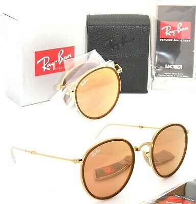 2f730c2d979c5 Sunglasses Ray-Ban Round Folding RB3517 001 Z2 Copper Pink Flash Lens 51 mm