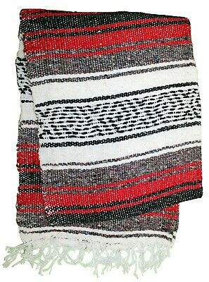 LITE MEXICAN BLANKET RED 2' x 6' Perfect for Yoga or Pilates Lightweight