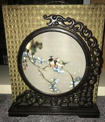 Guongdong Handmade Chinese Silk Embroidery Double Sided Frame With Box