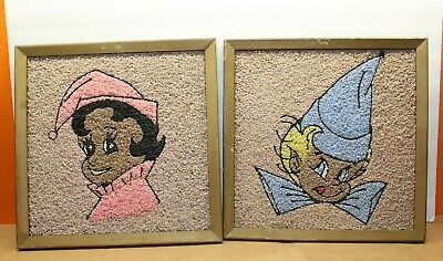 VINTAGE PAIR of FAIRY PIXIE ELF ELVES GRAVEL PEBBLE MOSAIC WALL ART PICTURES