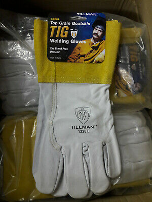 "Tillman 1328-Large TIG Welding Gloves Pearl Goatskin Leather w/ 4""Cuff 1Pair"
