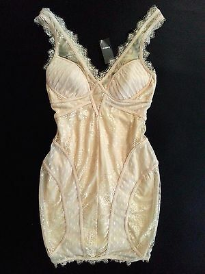 NWT bebe beige ivory Lace Overlay Dress V Neck lingerie Bustier top club XXS