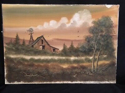 Vtg 1980 Orig Oil Painting Farm & Windmill Signed By Listed Artist Danny Gamble