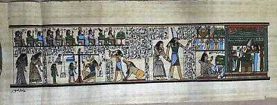 "Egyptian Papyrus  HandMade Painting,size 20x60cm (8""x24"") Judgement Day US#244"