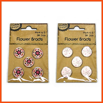 120 x FLOWER BRADS 2cm | Scrapbooking Embellishment Card Making Paper Fasteners