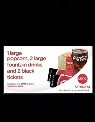 2 AMC Theaters Black MOVIE TICKETS, 2 Large DRINKS, 1 Large Popcorn