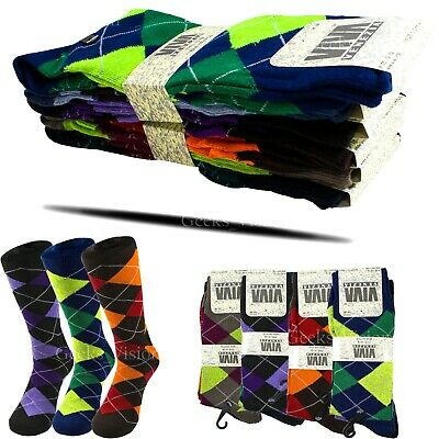 6 12 Pairs Mens Funky Colorful Argyle Viva Casual Wedding Dress Sock Size 10-13