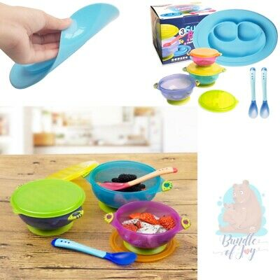 Kids safe Baby Feeding Suction Bowls with Lids Placemat Heat Sensitive Spoon