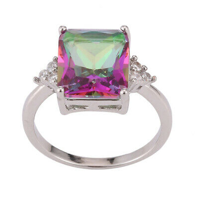 Women Rainbow Fire Mystic Topaz 925 Silver filled Wedding Engagement Ring 6-10