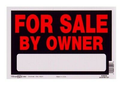 """FOR SALE BY OWNER Sign 12"""" x 8"""" Durable Plastic Commercial or Residential Use"""