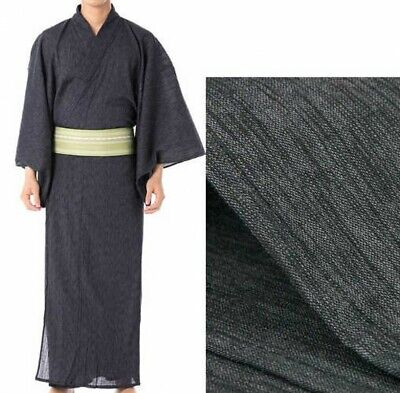 Japanese Traditional Mens YUKATA Summer KIMONO Yoryu G-1 Black Japan Tracking