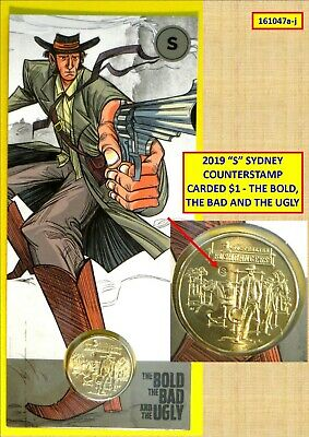 """2019 """"S"""" For Sydney Counterstamped Uncirculated $1 Carded Coin - Bold, Bad, Ugly"""