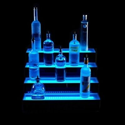 4 Tier LED Lighted Liquor Bottle Display Shelf - 5' LONG - Acrylic Base