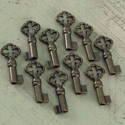Old Antique Vintage Style Keys Skeleton Open Barrel Keys Antique Brass-10x