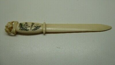 Antique Hand Carved Chinese Letter Opener Elephant Top Inscribed Painting Signed