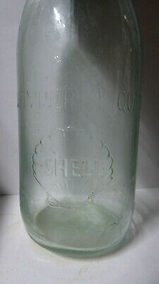 Original Vintage Shell Oil Bottle  Embossed Imperial Quart Glass