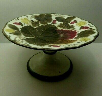 Antique Majolica Leaf Pattern Comport Plate  Wedgwood Stamped Strawberry Grapes