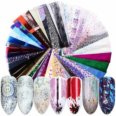 50pcs Holographic Nail Foil Laser Starry Paper Transfer Stickers Nail Art Decals