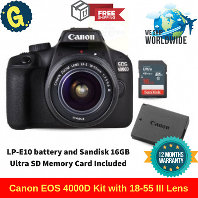 Canon EOS 4000D Kit with 18-55 III Lens + LP-E10 battery + Sandisk 16GB SD Card