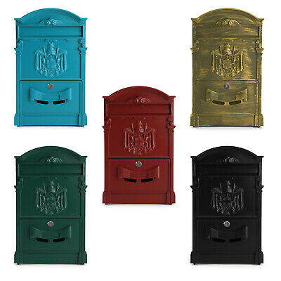 Vintage Outdoor Lockable Post Box Large Mailbox Letter Box Mail Wall Mounted Uk