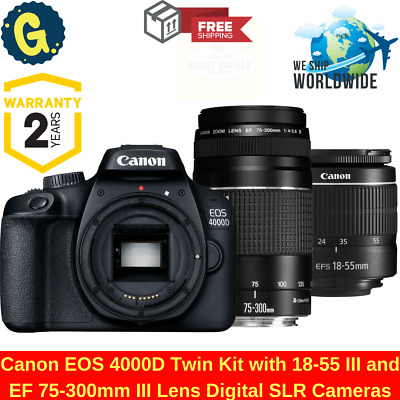 CANON EOS 4000D DSLR Camera With EF-S 18-55 mm f/3.5-5.6 III & EF 75-300 mm Lens