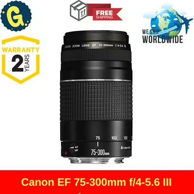 New Canon EF 75-300mm f/4-5.6 III Lens Telephoto Zoom For DSLR Camera Black