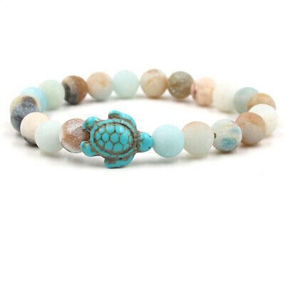 Gifts Hot Natural Men Women Beaded Charm Turtle Bracelet Turquoise Stone Lucky
