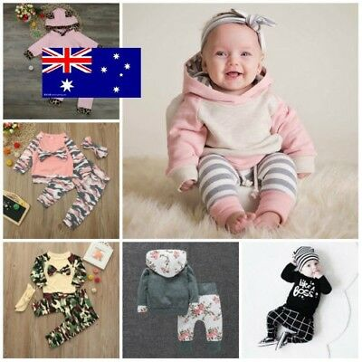 Newborn Toddler Spring Autumn Long Sleeve Hooded Top+Pants Outfit AU Stock