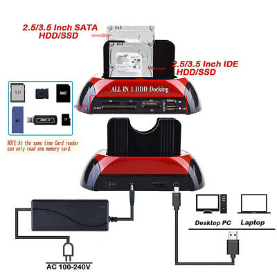 "2.5/3.5"" SATA IDE Dual Hard Drive HDD Docking Station USB HUB Dock Card ReaderRR"
