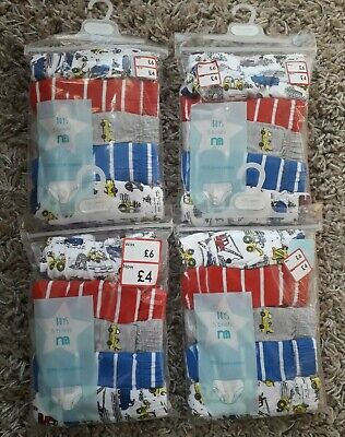 Boys Underpants Briefs Bundle Of 20 Pairs Age 12/18 Months Diggers Cranes