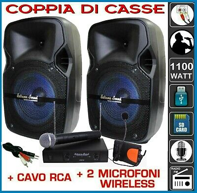 KIT KARAOKE CASSE MUSICALI 1100 Watt MICROFONI Wireless RCA Bluetooth USB RADIO